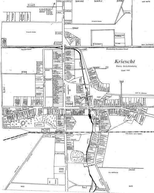 Kartennachweis: Topographische Übersichtskarte des Deutschen Reiches 78: Cüstrin, 1902  Fotos: Heimatkreis Einwohnerplan Kriescht: © HK, Zusammenstellung: Habermann