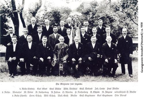 Herr Arno Wadephul aus Berlin übergab dem Heimatkreis eine Gruppenaufnahme (um 1930)  des Gesangvereins Arensdorf. Sein Vater ist in der 2. Reihe links außen zu finden.