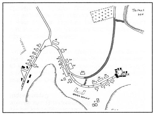 Skizze der Zugangswege zum alten deutschen Friedhof auf dem Falkenberg