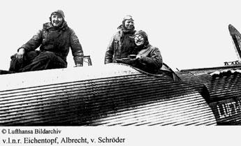 v.l.n.r. Eichentopf, Albrecht, v. Schröder, © Lufthansa Bildarchiv