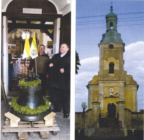 links:Abstellen der Glocke im Vorraum der Kirche St. Anna in Neudorf Foto: Axel Behr rechts: Kirche in Neudorf (Nowa Wies) Foto: Hubert Petzelt, Moers