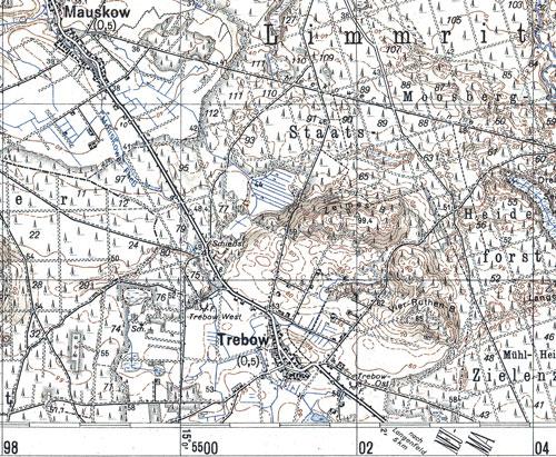 (Ausschnit aus Deutsche Karte 1:50000, 272 Landsberg a.d.W.;Reichsamt f. Landesaufnahme 1939)