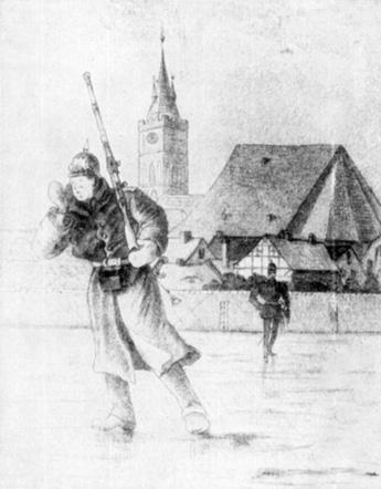 »R – rau – s!« – Wachruf aus der Sonneburger Zeit. Der Herr Leutnant kommt. In der Soldatenfigur bereits echter Zille. Im Hintergrund landschaftliche Feinheiten.