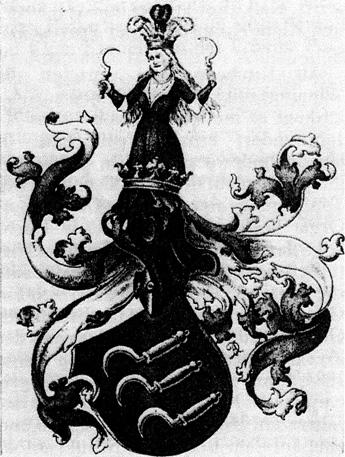 Das Wappen der Familie von Winning zeigt im roten Schild drei Sicheln mit gelben Griffen und weißen Klingen. Darüber wächst aus dem gekrönten Helm eine Frauengestalt mit rotem Kleid und fliegenden Haaren. Sie hält in jeder Hand eine Sichel. Ihr gekröntes Haupt ist mit Straußenfedern, zwei in Weiß, die mittlere in Rot, besteckt. Die Helmdecken sind ebenfalls rot und weiß.